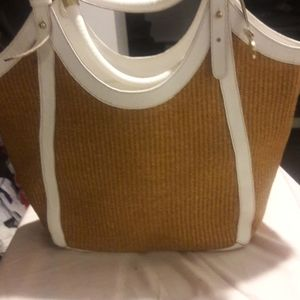 Large straw and leather bag